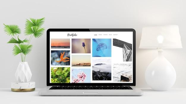 Portfolio-website auf laptop-bildschirm 3d-rendering