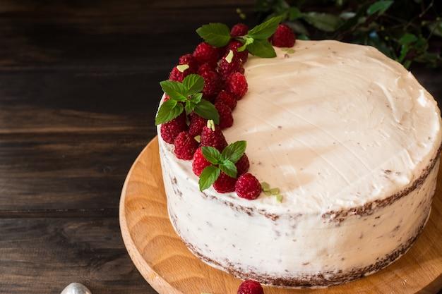 Portion cremiger obstkuchen. himbeerkuchen mit schokolade. schokoladenkuchen. minze-dekor chee