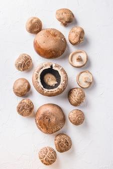 Portobello und shiitake-pilze auf weißem tisch. draufsicht.