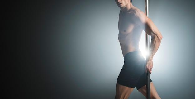 Porträt der attraktiven männlichen vorbildlichen aufstellung