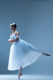 Porträt der ballerina auf blau