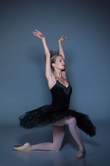 Porträt der ballerina in der rolle eines schwarzen schwans auf blauem hintergrund