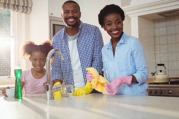 Porträt der familienwaschutensilien im spülbecken
