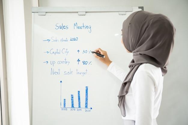 Porträt der intelligenten schönen asiatischen geschäftsfrau, die im büro arbeitet