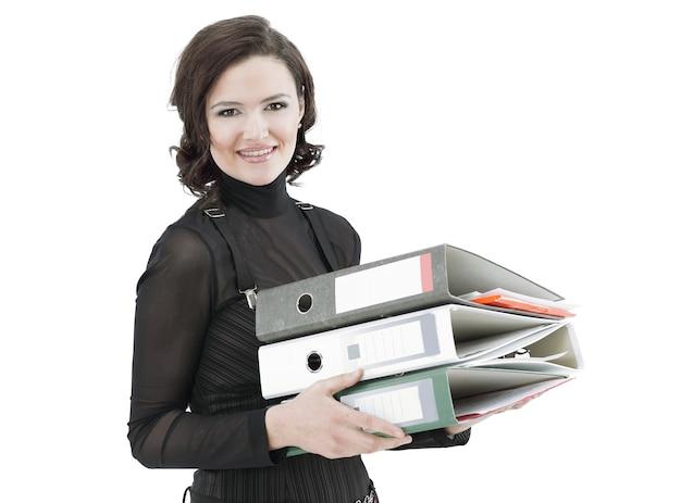 Porträt der jungen geschäftsfrau mit dokumenten.isoliert auf weiß.