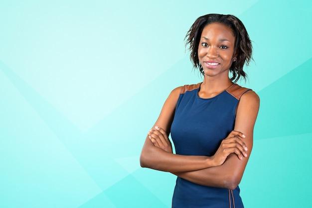 Porträt der schönen afroamerikanergeschäftsfrau