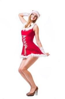 Porträt der schönen sexy frau gehen gehen tänzer tragen wie weihnachtsmann isoliert auf weißem hintergrund