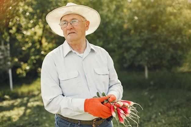 Porträt des älteren mannes in einer hutgartenarbeit