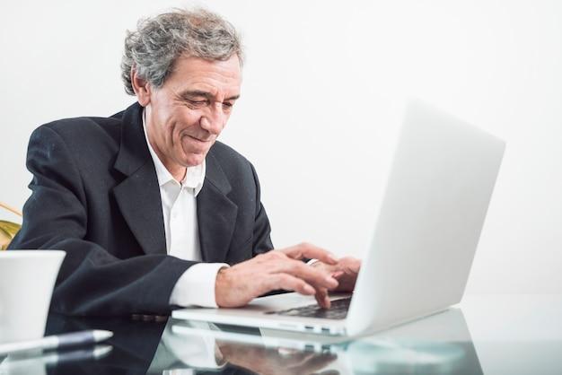 Porträt des älteren mannes schreibend auf laptop im büro
