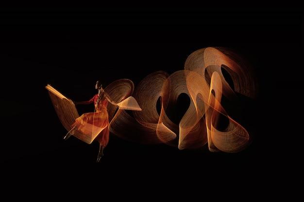 Porträt des ballerinatänzers mit lichteffekt