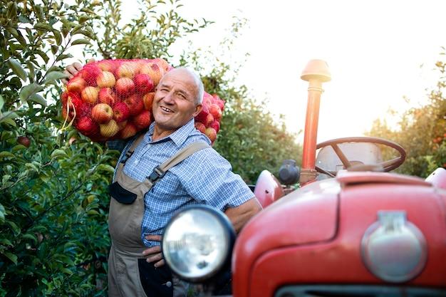 Porträt des bauern, der an seinem traktor steht und sack der apfelfrucht im obstgarten hält