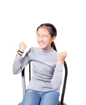 Porträt des frohen glückgefühls des asiatischen jugendlichen