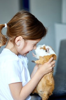 Porträt des glücklichen lächelnden kleinen mädchens, das rotes meerschweinchen umarmt.