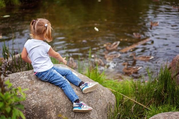 Porträt des glücklichen niedlichen kleinen mädchens im freien kind füttert vögel enten, die im parkgarten gegen große felsen spielen