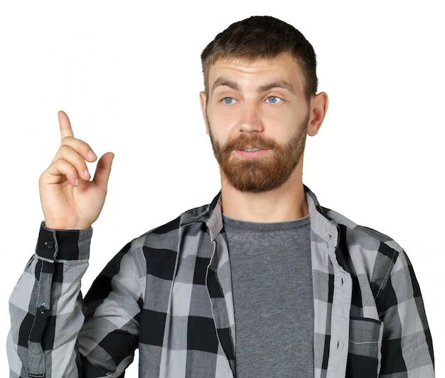 Porträt des hübschen reifen mann-zeigens