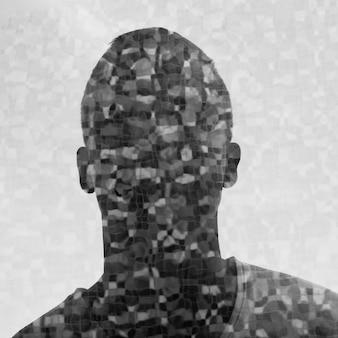 Porträt des jungen mannes mit doppelbelichtungseffekt in schwarzweiss