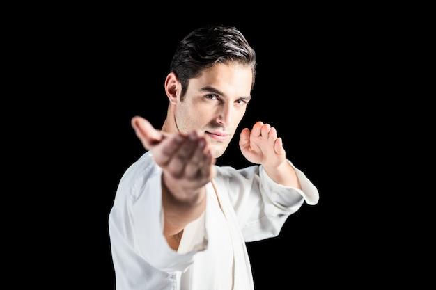 Porträt des kämpfers karateposition durchführend