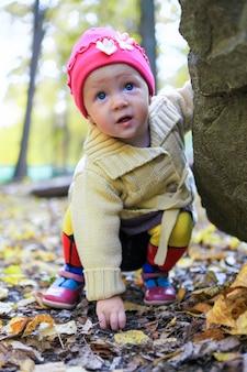 Porträt des kleinen entzückenden mädchens, das allein in herbstpark geht