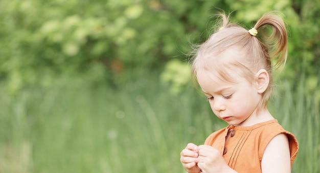 Porträt des kleinen mädchens auf grünem gras des hintergrundes