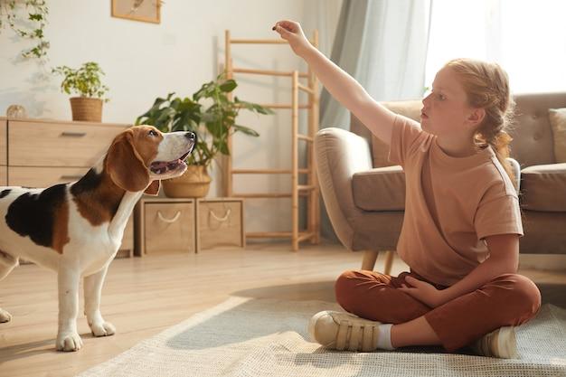 Porträt des niedlichen rothaarigen mädchens, das mit hund spielt, während auf boden in gemütlichem hauptinnenraum durch sonnenlicht beleuchtet sitzt