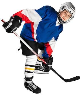 Porträt des professionellen hockeyspielers. isoliert auf weiß