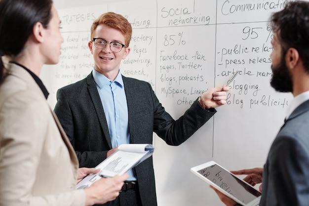 Porträt des rothaarigen jungen geschäftsmannes, der durch whiteboard steht und auf pläne zeigt, während startprojekt mit team bespricht