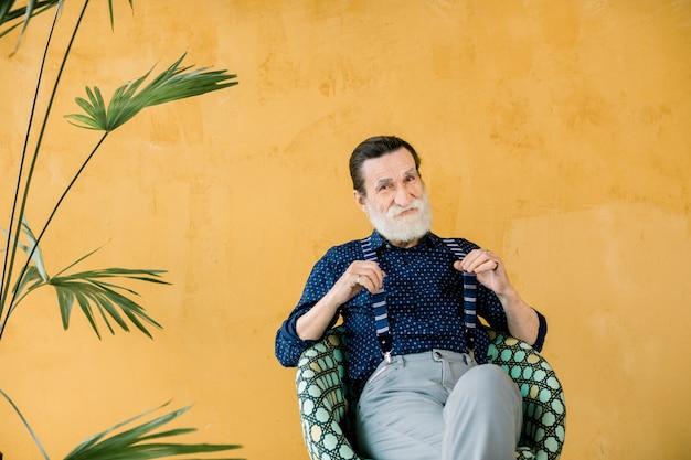Porträt des schönen stilvollen älteren bärtigen mannes, der dunkelblaues hemd und graue hosen trägt, seine hosenträger wegziehend, auf dem stuhl auf dem gelben hintergrund mit palme sitzend