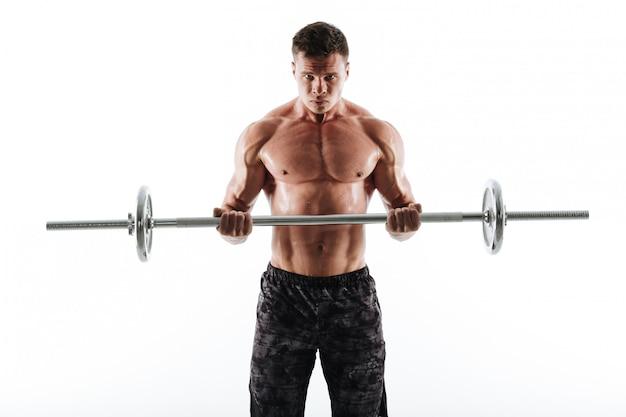 Porträt des starken verschwitzten sportmanns in den schwarzen shorts, die mit langhantel trainieren