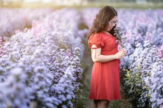 Porträt einer asiatischen jungen frau, die glückliche reisende mit rotem kleid genießt, die in weiß blühendem oder violettem michaelmas-gänseblümchen-blumenfeld im naturgarten von chiang mai, thailand, genießt