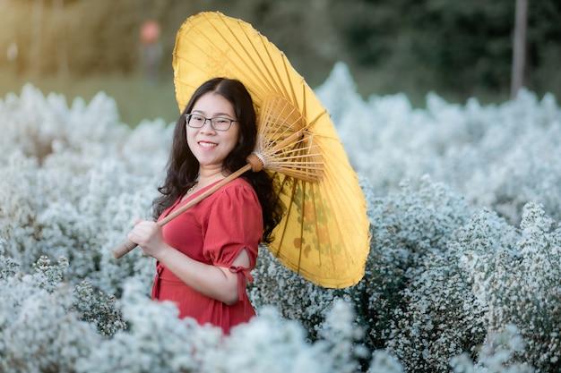 Porträt einer glücklichen asiatischen frau mit rotem kleid, die einen gelben regenschirm genießt, der im weißen blühenden oder weißen margarita-blumenfeld im garten von in chiang mai, thailand, urlaub genießt