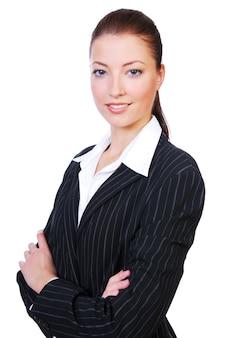 Porträt einer jungen niedlichen geschäftsfrau auf einem weißen.