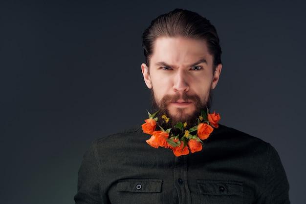 Porträt einer mannfrisur mode blüht emotionen nahaufnahme
