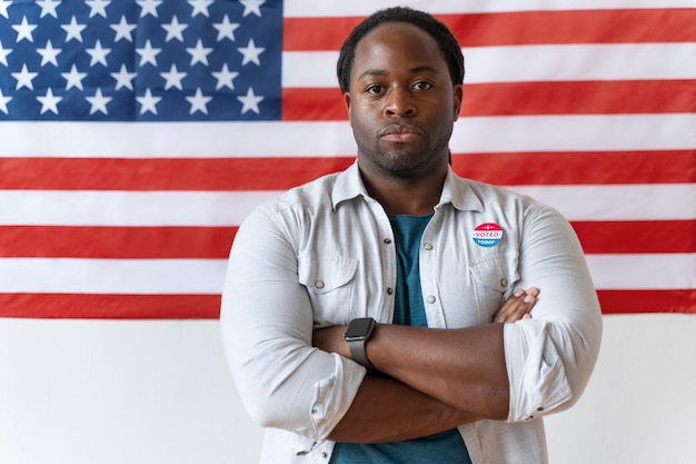 Porträt eines afroamerikaners am tag der wählerregistrierung