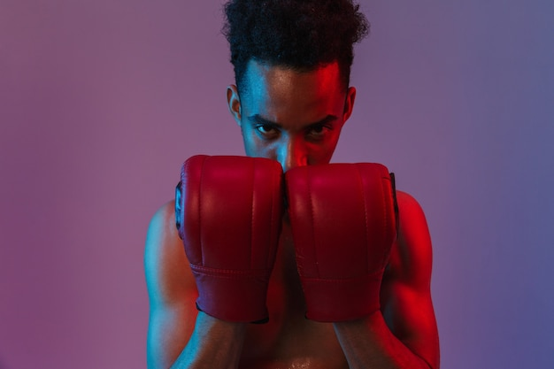 Porträt eines aggressiven afroamerikanischen sportlers ohne hemd, der in boxhandschuhen posiert, die über einer violetten wand isoliert sind?