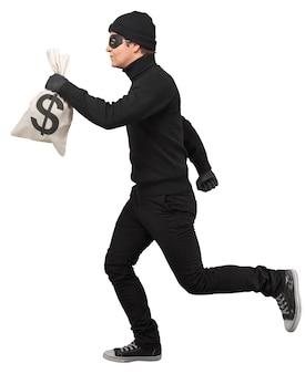 Porträt eines diebes, der mit geldsack läuft