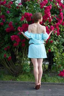 Porträt eines hübschen rothaarigemädchens kleidete in einem kleid des weißen lichtes auf einem hintergrund von blühenden rosen an. draussen.