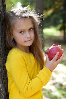 Porträt eines kleinen mädchens in einem park mit einem granatapfel.