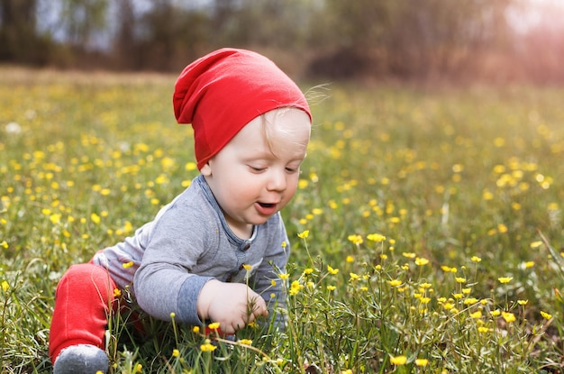 Porträt eines kleinen weißen kaukasischen jungen in einem roten hut. kind, das auf gras in einem park an einem sommertag sitzt.