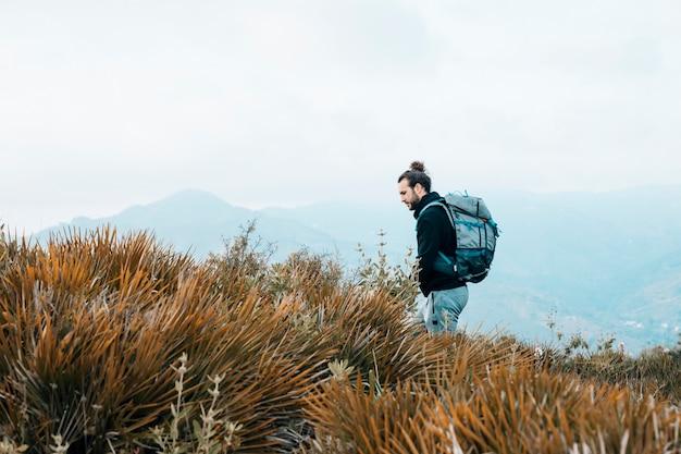Porträt eines männlichen wanderers, der im wald wandert