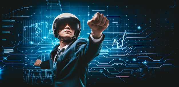 Porträt eines mannes in anzug und helm. er zeigt, dass er vor dem hintergrund eines futuristischen hologramms fliegt