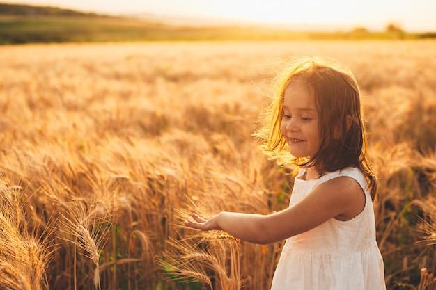 Porträt eines niedlichen kleinen mädchens, das weizen läuft und berührt, der in einem weizenfeld gegen sonnenuntergang lächelt.