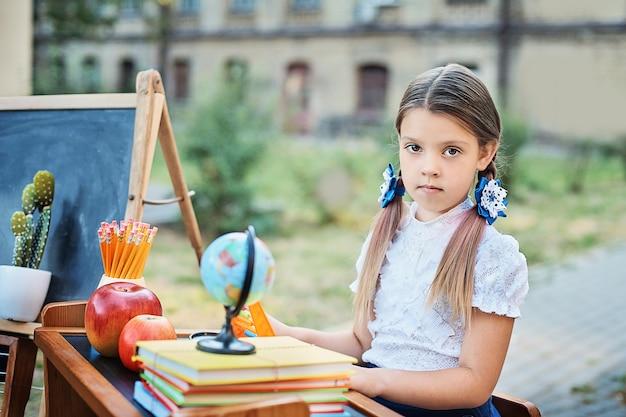 Porträt eines schönen jungen erstsortierers, der an einem schreibtisch auf dem hintergrundherbstpark sitzt.