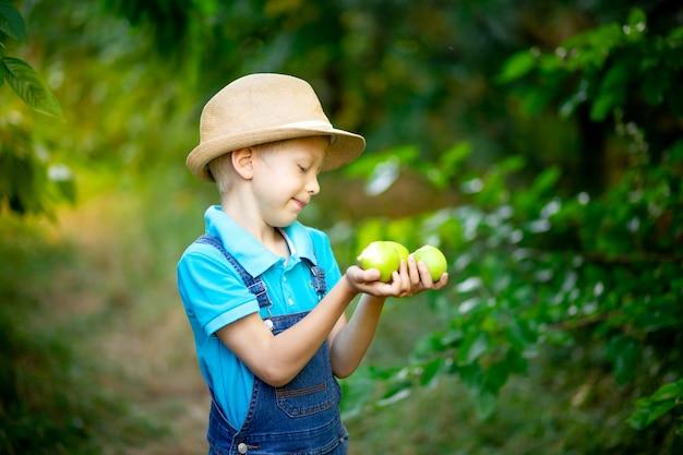 Porträt eines sechsjährigen jungen in blauer kleidung und hut in einem garten mit apfelbäumen und äpfeln