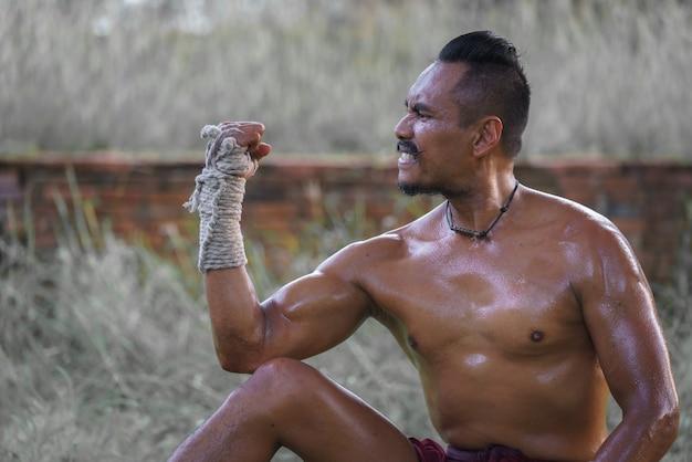 Porträt kampfkunst von muay thai