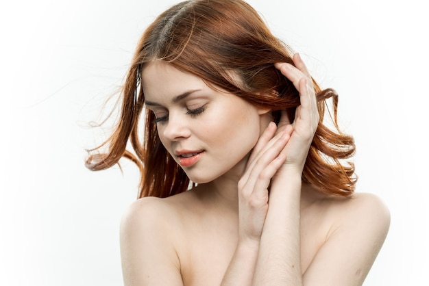 Porträt sexy frau nackte schultern weiblichkeit kosmetik.