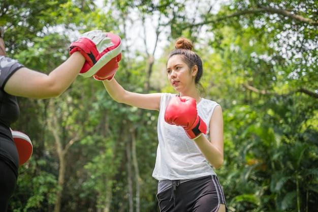 Porträt von junge asisan trägt das frauentraining zum boxen im park zur schau