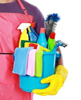 Porträt von reinigungsgeräten