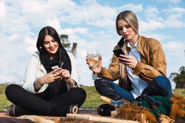 Porträt von zwei freunden, die wein trinken und beim picknick ihre handys lesen