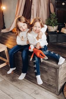 Porträt von zwei fröhlichen schwestern in weißen pullovern, die auf holzkonstruktion an weihnachten umarmen.