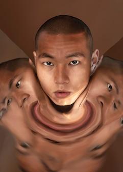 Porträtmann mit verzerrungsbild